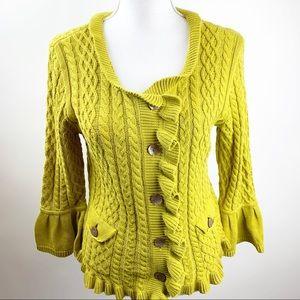 J. Jill Green Yellow Sweater Small